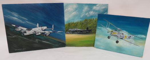Three Various Aircraft Oil Paintings consisting Polish Wellington being armed ready for a raid.