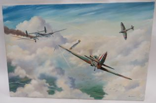 Modern Oil On Canvas Battle of Britain Hurricane Picture 36 x 24 inch canvas showing a Hurricane