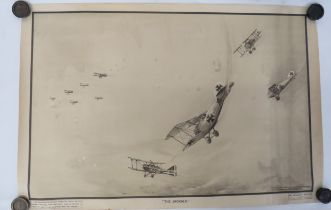 """Scarce 1918 Dated RAF Training Poster """"The Jackals"""" black, white and sepia, printed poster showing a"""