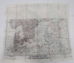 """WW2 RAF Silk Escape Map of Scandinavia and The Baltic black and red printed, double sided map """"F/"""