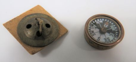 WW2 RAF Escape and Evasion Fly Button Compass two piece, brass fly buttons. The base button with