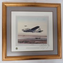 """Limited Edition Print """"Almost Home"""" of a B17 and Escort limited edition of 1000 prints. Showing a"""