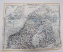 """WW2 RAF Silk Escape Map of Scandinavia and The Baltic colour printed, double sided map """"F/G"""" showing"""