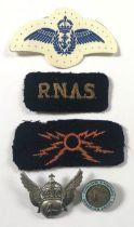 WW2 Fleet Air Arm Pilots Wings, plus Other Aviation Badges. .Comprising: Printed Pilots Wings. ...