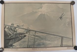 """Scarce 1918 Dated RAF Training Poster """"Hun In The Sun"""" black, white and sepia, printed poster"""