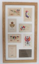 WW1 Aircraft Silk Embroidered Postcard etc. Six examples of the embroidered postcards sent to