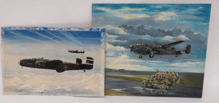 Two Halifax 78 Squadron Bomber Oil Paintings consisting Halifax EY-G In Flight by D A Warmington