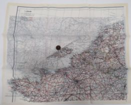 """WW2 Silk Escape Map and Composite Button Compass colour printed, double sided, """"C/D"""" map covering"""