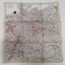 """WW2 Silk Escape map and Composite Button Compass colour printed, single sided, """"A"""" map covering"""
