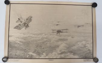 """Scarce 1918 Dated RAF Training Poster """"Strafed"""" black, white and sepia, printed poster showing"""