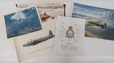 Selection of Various Aviation Prints consisting print of 617 Sqn crest with facsimile signatures ...
