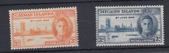 1946 Victory Cayman 3d (stop after 1946) and Pitcairn 3d (Flagstaff) both showing listed varieties
