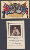 1911 Coronation Postcard excellent un-used condition plus ED VII Memorial Postcard