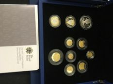 COINS : 2012 Diamond Jubilee Silver and gold plate proof coin set in blue leather style display box