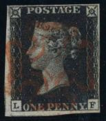Great Britain Stamps : Penny Black plate 6 four margins lettered LF SG2