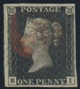Great Britain Stamps : Penny Black plate 8 four large margins lettered EI SG2