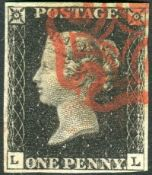 Great Britain Stamps : Penny Black plate 4 four margins lettered LL SG2