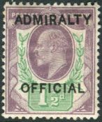 Great Britain Stamps : 1 1/2d Dull Purple and Green mounted mint over printed ADMIRALTY OFFICIAL SG