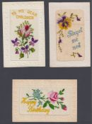 WWI Silk Postcards 3 cards in good condition for age.