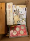 Glory box of loose stamps, some coins,