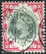 Great Britain Stamps : 1/- Dull Green and Carmine fine used Hartlepool CDS SG 214