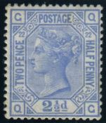 Great Britain Stamps : 2 1/2d Blue plate 22 mounted mint SG 157