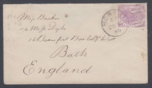 POSTAL HISTORY Tasmania 1885 6d stamp duty on cover from Hobart to Bath England,
