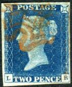 Great Britain Stamps : 1840 Two Penny Blue four margin example plate 1 lettered LB Red MX SG 4