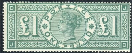 Great Britain Stamps : £1 Green mounted mint SG 212