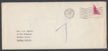Great Britain 1966 cover with a BISCET 8d Wilding, sent to a Mrs Caplin,