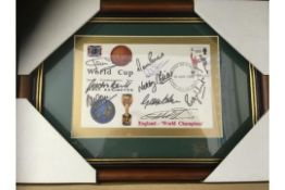AUTOGRAPHS : 1966 World Cup Winners first day cover sign by Alan Ball, Gordon Banks, Jack Charlton,