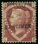 Great Britain Stamps : 1 1/2d Rose Red Plate 3 unmounted mint Over Printed SPECIMEN SG 51as