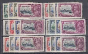 STAMPS : 1935 Silver Jubilee mint sets for Cayman, Fiji, Gilbert, Mauritius,
