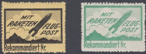STAMPS : 1935 Rocket Post stamps in green and black,