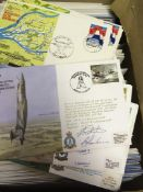 STAMPS POSTAL HISTORY : Box of approx 350+ RAF flown covers some pilot signed and some unsigned