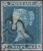 GREAT BRITAIN STAMPS : 1841 2d Blue four