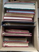 STAMPS : Glory box of 14 world albums and stockbooks, thousand's of stamps to keep you busy sorting.