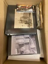 STAMPS : Large glory box! Old exercise books with older covers, FDCs, Railway covers,