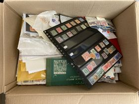 STAMPS : BRITISH COMMONWEALTH, a varied assortment in a large box with stockbooks, album pages,