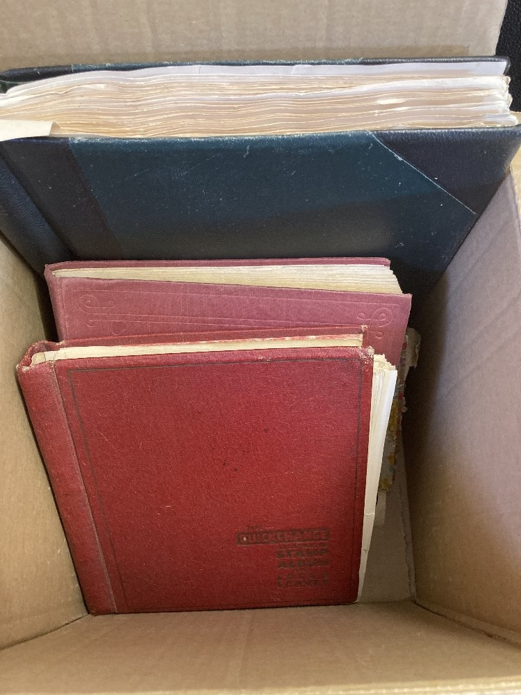 STAMPS Three albums appears to be mostly no later than 1950's and and old cigar box of loose stamps,