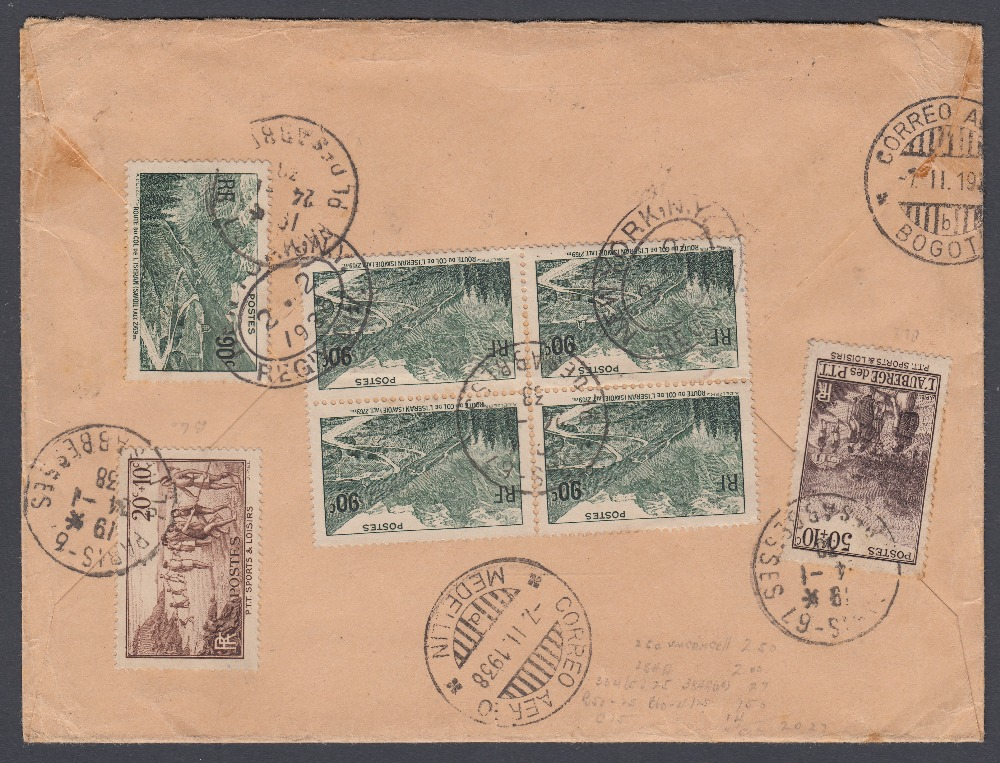 STAMPS POSTAL HISTORY 1938 airmail cover from France to Columbia, - Image 2 of 2