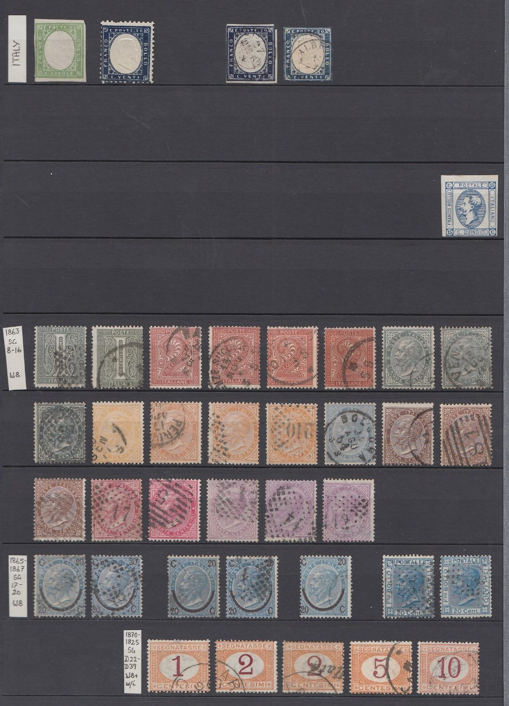 STAMPS ITALY Red Stock book with many 100's used and fine used issues,