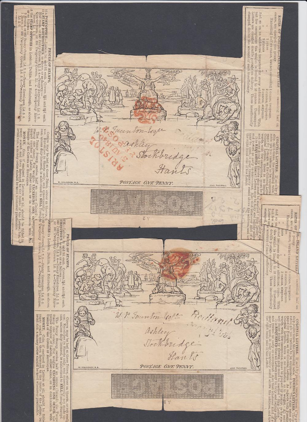 GREAT BRITAIN POSTAL HISTORY Two part Mulready letter sheets both with red MX cancels