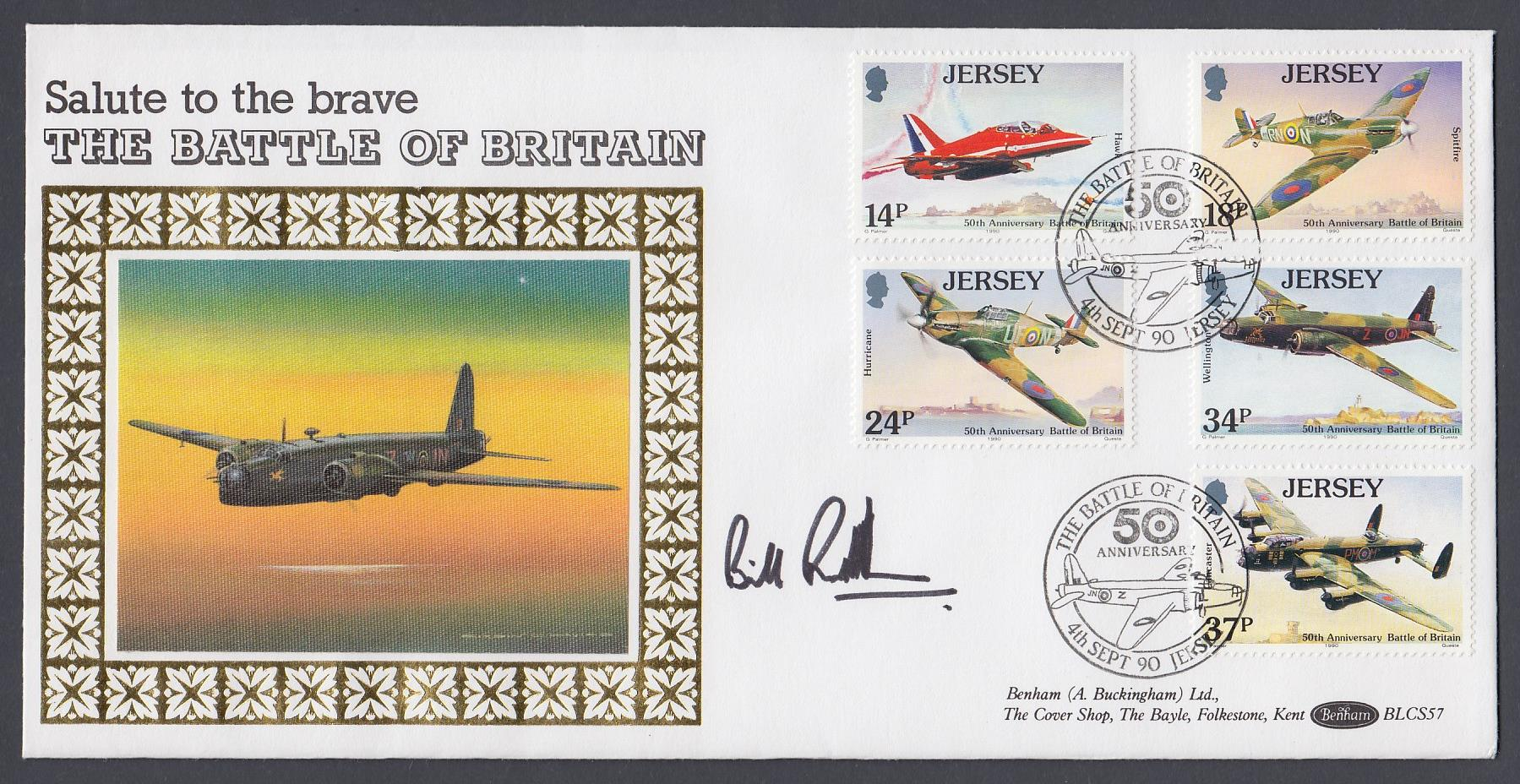 AUTOGRAPH : 1990 Jersey Battle of Britain Benham cover signed by Bill Randell