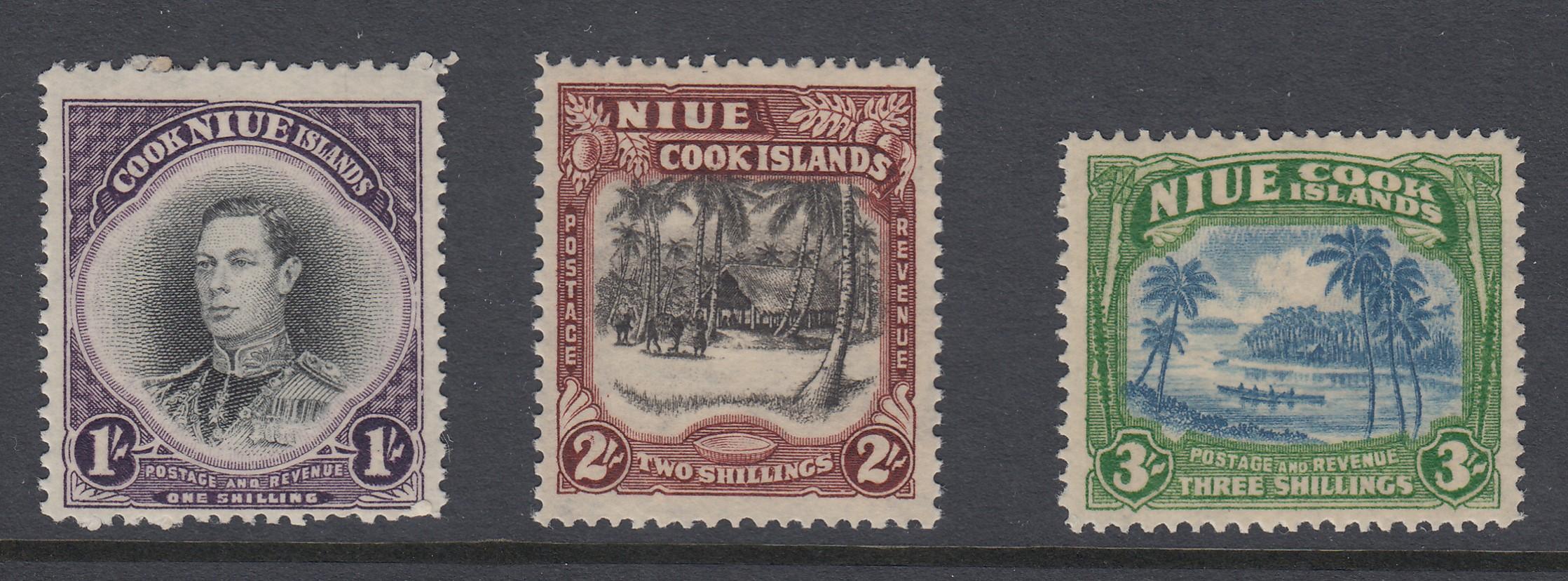 STAMPS NIUE ISLANDS, 1938 set of three M/M, SG 75-77.