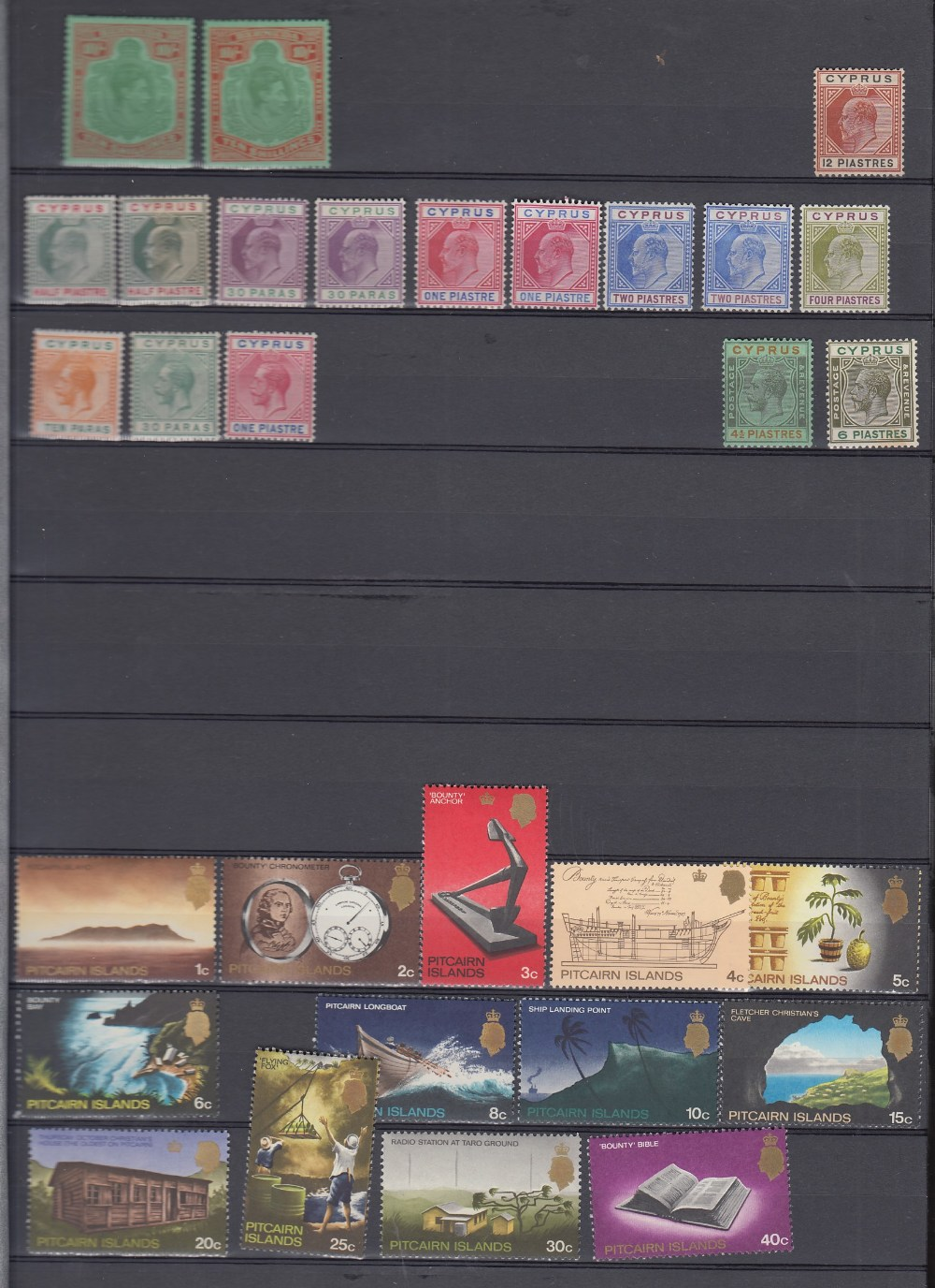 STAMPS Commonwealth mint and used in brown 8 page stock book, better stamps noted, GVI Bermuda 10/-,