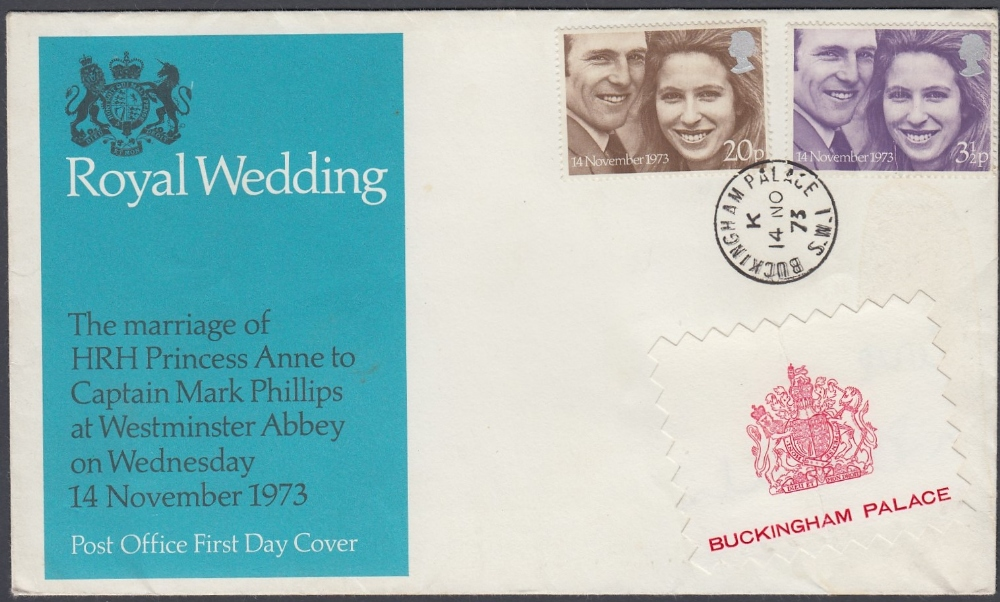 STAMPS FIRST DAY COVERS 1973 Royal Wedding set on illustrated cover ,