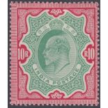 STAMPS INDIA 1909 10r Green and Carmine, lightly mounted mint, slight gum wrinkles,