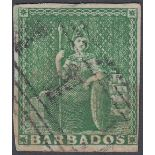 STAMPS BARBADOS 1857 1/2d Yellow-Green fine used SG 7