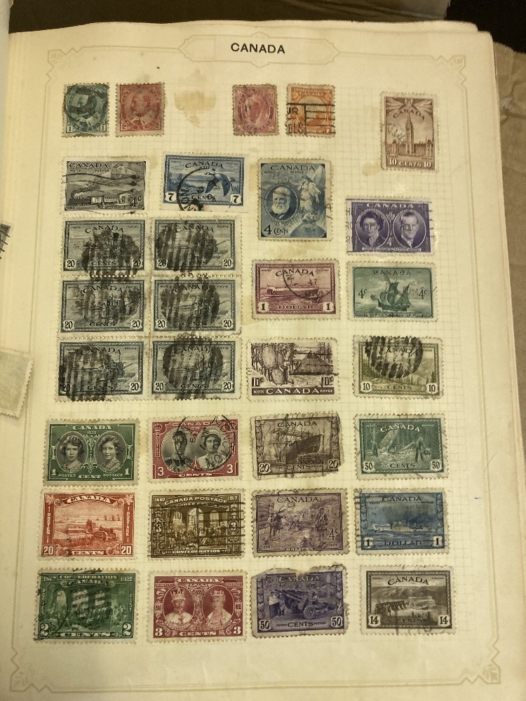 STAMPS Three albums appears to be mostly no later than 1950's and and old cigar box of loose stamps, - Image 3 of 4